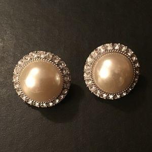 Vintage Pearl & CZ Earrings